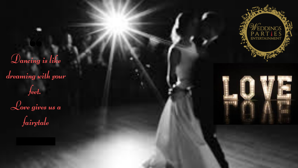 bridal couple dancing with one spot light