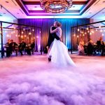 Bridal Couple Dancing on Dry Ice with Purple & Blue lighting